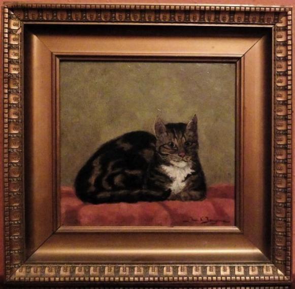 Jacob L. Jongsma (1893-1926), Portret van poes Nelly, 1913, paneel, 24 x 25,5 cm (met lijst: 37,5 x 39), gesigneerd r.o.