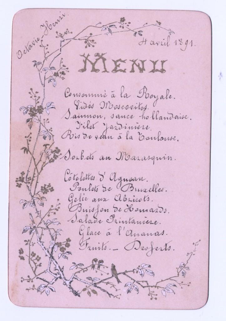 1891, 4 april huwelijksdiner Henri&Octavie
